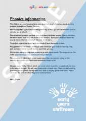 Letter to explain to Parents Phonics